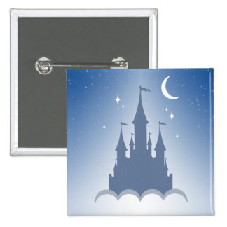 Blue Dreamy Castle In The Clouds Starry Moon Sky 2 Inch Square Button