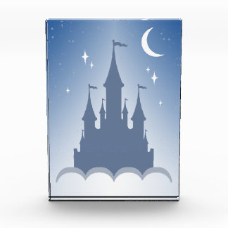 Blue Dreamy Castle In The Clouds Starry Moon Sky Acrylic Award