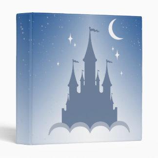 Blue Dreamy Castle In The Clouds Starry Moon Sky Binder