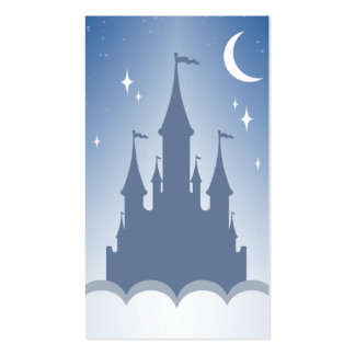 Blue Dreamy Castle In The Clouds Starry Moon Sky Business Cards