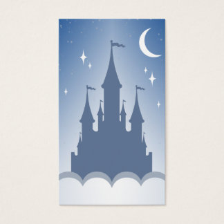 Blue Dreamy Castle In The Clouds Starry Moon Sky Business Card