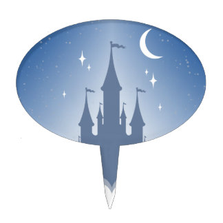 Blue Dreamy Castle In The Clouds Starry Moon Sky Cake Topper