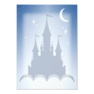 Blue Dreamy Castle In The Clouds Starry Moon Sky Card
