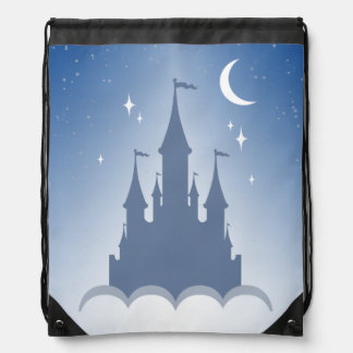 Blue Dreamy Castle In The Clouds Starry Moon Sky Drawstring Bag