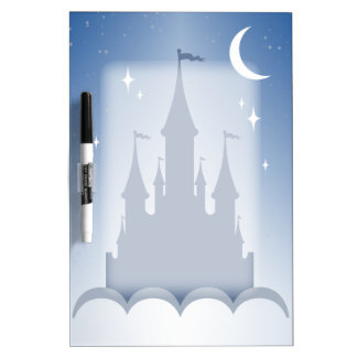 Blue Dreamy Castle In The Clouds Starry Moon Sky Dry-Erase Board