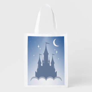 Blue Dreamy Castle In The Clouds Starry Moon Sky Grocery Bag
