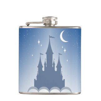 Blue Dreamy Castle In The Clouds Starry Moon Sky Hip Flask