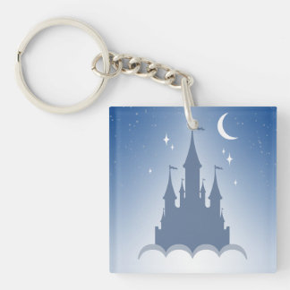 Blue Dreamy Castle In The Clouds Starry Moon Sky Keychain