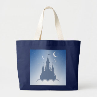 Blue Dreamy Castle In The Clouds Starry Moon Sky Large Tote Bag