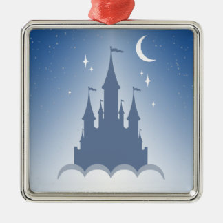 Blue Dreamy Castle In The Clouds Starry Moon Sky Metal Ornament