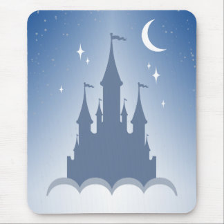Blue Dreamy Castle In The Clouds Starry Moon Sky Mouse Pad