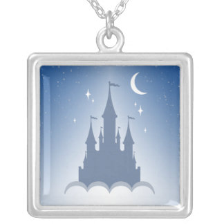 Blue Dreamy Castle In The Clouds Starry Moon Sky Square Pendant Necklace