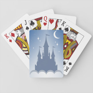 Blue Dreamy Castle In The Clouds Starry Moon Sky Playing Cards
