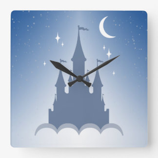 Blue Dreamy Castle In The Clouds Starry Moon Sky Square Wall Clock