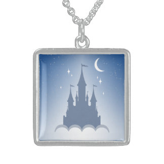 Blue Dreamy Castle In The Clouds Starry Moon Sky Sterling Silver Necklace