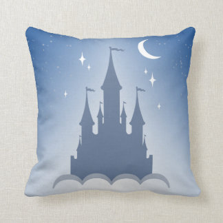 Blue Dreamy Castle In The Clouds Starry Moon Sky Throw Pillow