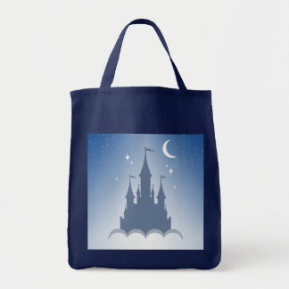 Blue Dreamy Castle In The Clouds Starry Moon Sky Tote Bag