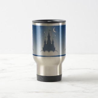 Blue Dreamy Castle In The Clouds Starry Moon Sky Travel Mug