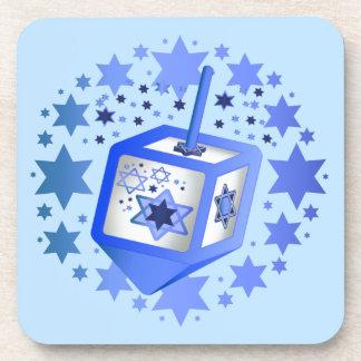 Blue Dreidel Hanukkah Coasters