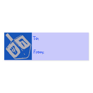 Blue Dreidel Hanukkah Gift Tags Business Card Template