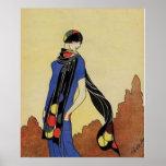 Blue Dress 1920s Flapper Illustration Vintage Art Print