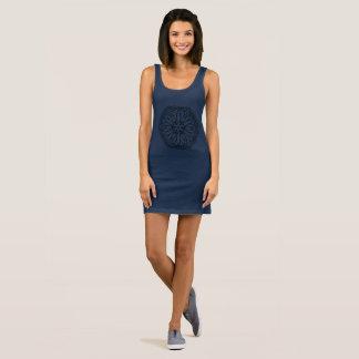 Blue dress with Mandala art