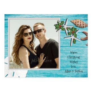 Blue Driftwood Tropical Christmas Photo Postcard
