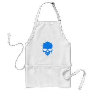 Blue Dripping Splatter Skull Adult Apron