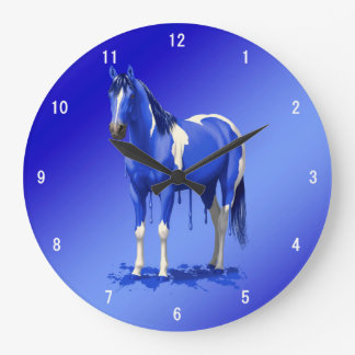 Blue Dripping Wet Paint Horse Large Clock