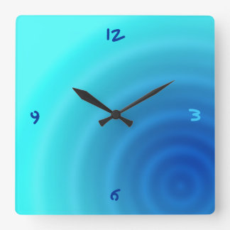 blue drop square wall clock