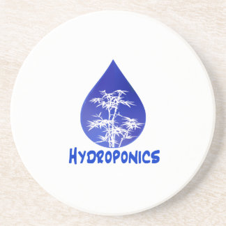 Blue drop, white bamboo, blue text hydroponics coasters