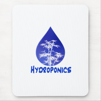 Blue drop, white bamboo, blue text hydroponics mouse pad