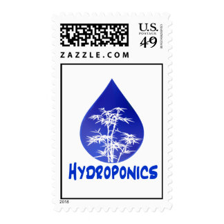 Blue drop, white bamboo, blue text hydroponics stamp