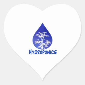 Blue drop, white bamboo, blue text hydroponics heart sticker