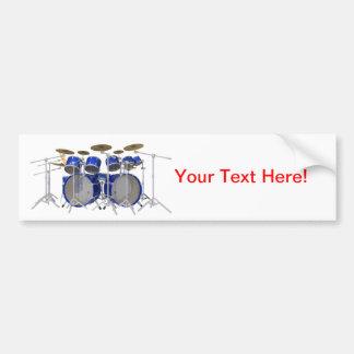 Blue Drum Kit: 10 Piece: Car Bumper Sticker