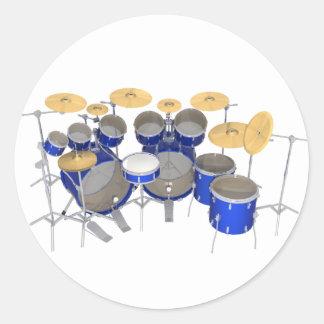 Blue Drum Kit: 10 Piece: Classic Round Sticker
