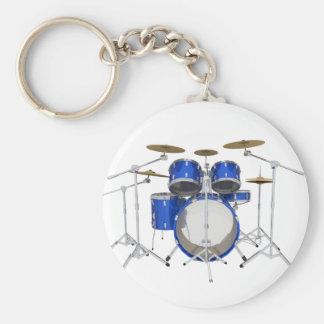 Blue Drum Kit: Basic Round Button Keychain