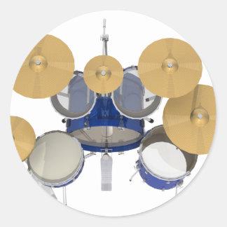 Blue Drum Kit: Classic Round Sticker