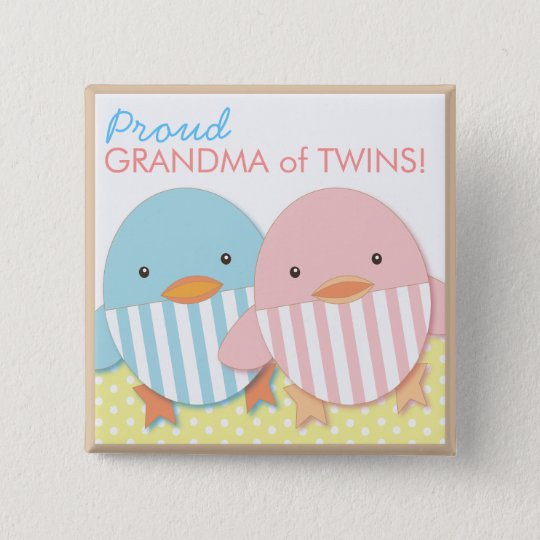 Blue Ducky Twin Boy & Girl Proud Grandma Pin