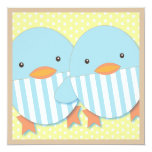 "Blue Ducky Twin Boys Baby Shower 5.25"" Square Invitation Card"