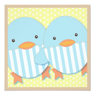Blue Ducky Twin Boys Baby Shower 5.25x5.25 Square Paper Invitation Card