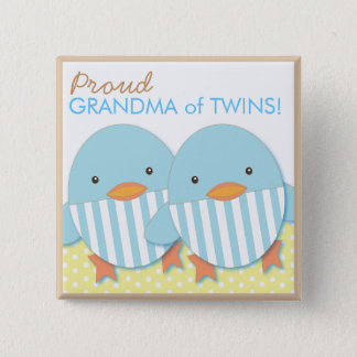 Blue Ducky Twin Boys Proud Grandma Pin