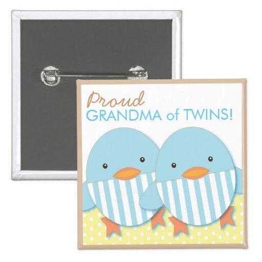 Blue Ducky Twin Boys Proud Grandma Pin