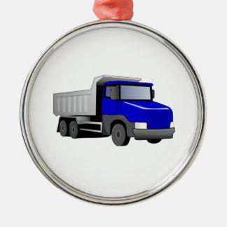 Blue Dump Truck Metal Ornament