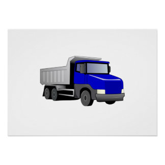 Blue Dump Truck Print