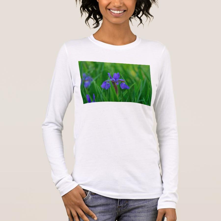 Blue Dutch Among Leaves Long Sleeve T-Shirt - Best Selling Long-Sleeve Street Fashion Shirt Designs