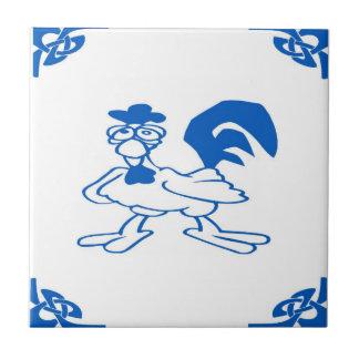 Blue Dutch Chicken Small Square Tile