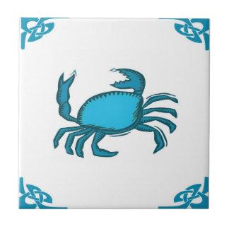 Blue Dutch Crab Delft holland Small Square Tile