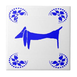 Blue Dutch Dachshund Abstract Ceramic Tile