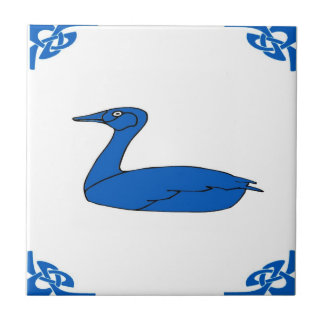 Blue Dutch Duck Small Square Tile